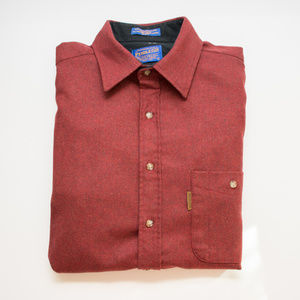Pendleton Red Wool Button Down with Elbow Patches